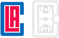 Los Angeles Clippers monogram basketball court