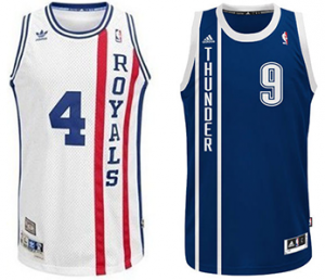 Rochester Royals Oklahoma City Thunder jersey comparison