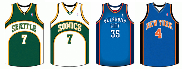 Seattle Super Sonics Oklahoma City Thunder New York Knicks