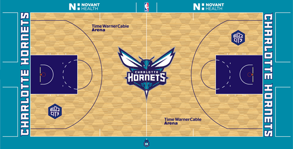 Charlotte Hornets honeycomb pattern court