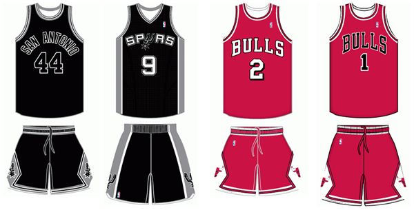 Chicago Bulls San Antonio Spurs uniform comparison