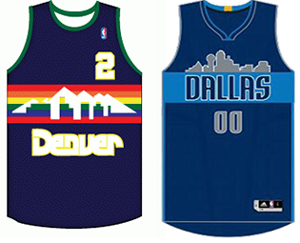 Denver Nuggets Dallas Mavericks skyline uniform comparison