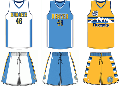 Denver Nuggets current uniforms