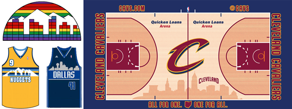 Denver Nuggets Cleveland Cavaliers Dallas Mavericks skyline comparison