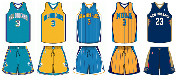 New Orleans Hornets Pelicans uniform history