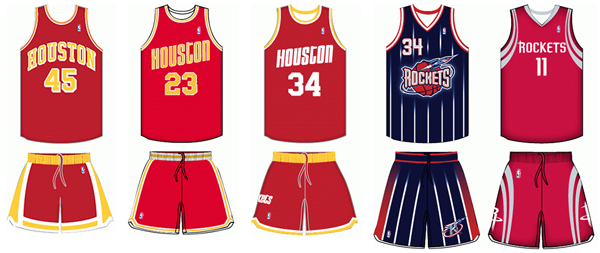 Houston Rockets uniform history