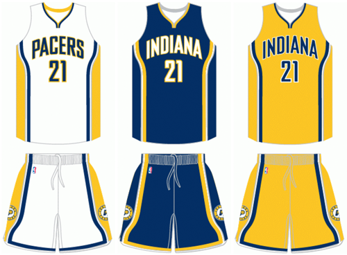 Indiana Pacers current uniforms