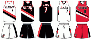 Portland Trail Blazers current uniforms