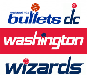Washington Bullets Wizards hands monument logos