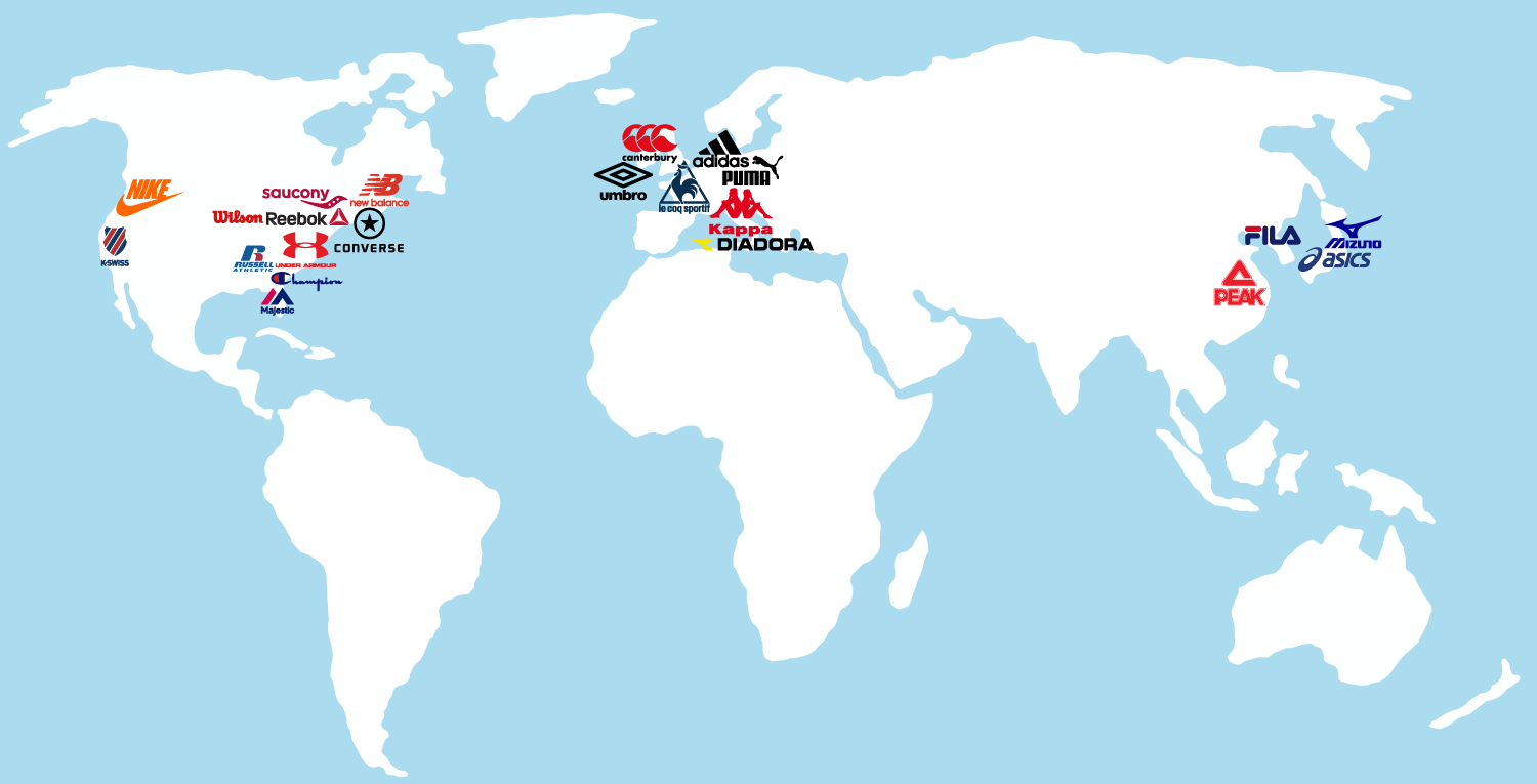 Sports Apparel Brands map