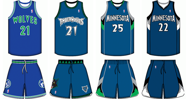 9a90e4b3fb6 Minnesota Timberwolves uniform history